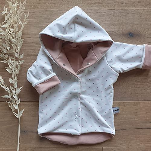 Wende Jacke - Cremeweiß Rose Punkte - Rose - Baby Mädchen Übergangsjacke Sommerjacke aus Jersey von Sharlene handgemacht in Deutschland