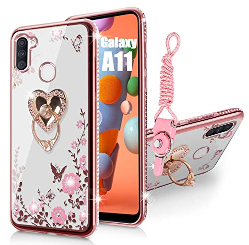 Samsung Galaxy A11 Case Glitter Crystal Butterfly Heart Floral Series-Slim TPU Luxury Bling Cute Girls Protective Cover with Detachable Finger Ring Holder Stand + Strap for Samsung A11 - Rose Gold