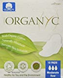 ORGANYC Hypoallergenic 100% Organic Cotton Pads Day Wings, 10-count Boxes (Pack of 2)