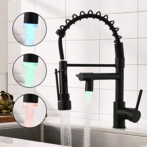 AIMADI LED Wasserhahn Küche Mischbatterien Küchenarmatur mit Brause Ausziehbar Spültischarmatur Spiralfederarmatur Küchenspüle Armatur Schwarz