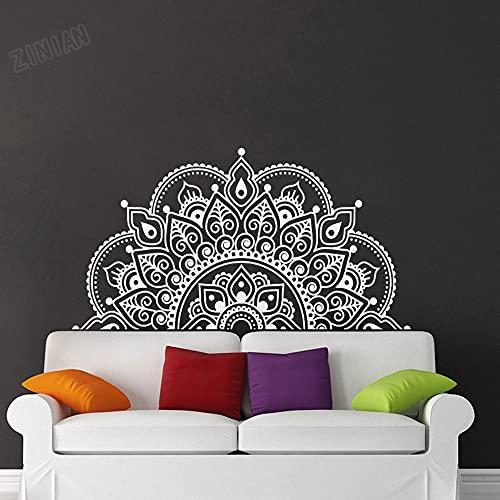 Medio mandala pegatinas de pared mural dormitorio sala de estar decoración de la pared pegatinas de fondo autoadhesivas A2 28x57cm