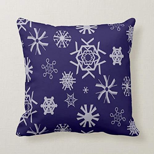 Perfecone Home Improvement Funda de almohada tipográfica copos de nieve para sofá y coche Funda de almohada 1 paquete de 40 x 40 cm
