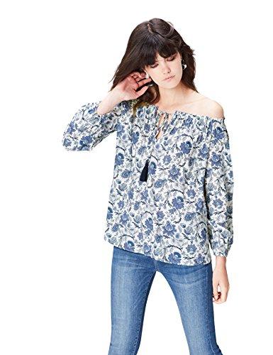 find. Bluse Damen schulterfrei mit Carmen-Ausschnitt, Blumenmuster, Schleife und Kordeln, Blau (Blue Mix), 38 (Herstellergröße: Medium)