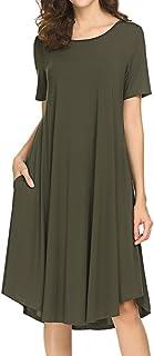Women's Short Sleeve Pocket Swing Dress Casual Loose T-Shirt Dress