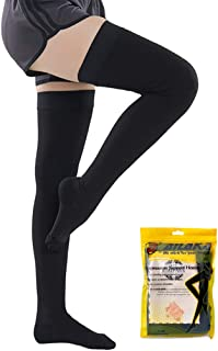 Ailaka Closed Toe Thigh High 20-30 mmHg Compression Stockings for Women & Men, Firm Support Graduated Varicose Veins Socks, Travel, Casual-Formal Hosiery