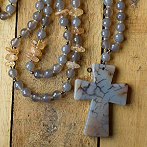 30 Inch Long Dragon Vein Agate Cross Necklace Rosary with Grey Agate and Golden Citrine Beads