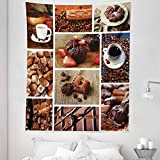 DUTRIX marrón, tamaño Doble, café y Chocolate, Sabroso Collage Frijoles, bocadillos, Muffins, liciosos Dulces, Colcha para Colgar en Colcha, coración 68 x 88 Pulgadas, marrón Azul