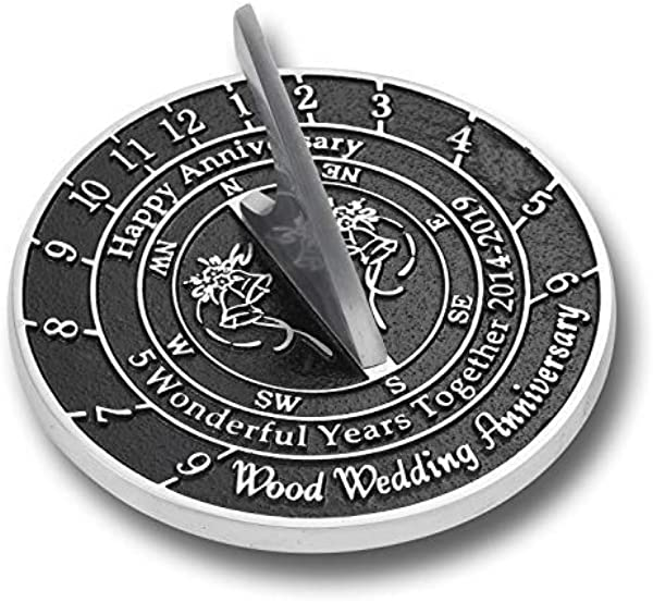 The Metal Foundry 5th Wood Wedding Anniversary 2019 Sundial Gift Idea Is A Great Present For Him For Her Or For A Couple To Celebrate 5 Years Of Marriage