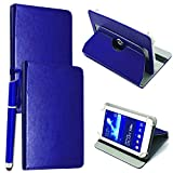 """Mobile Stuff Universal 360° Rotational Colourful Various PU Leather Stand Case Cover Fits All 7"""" Inch Android Tablets tab devices + Free Stylus Pen (Universal 7'' blue)"""