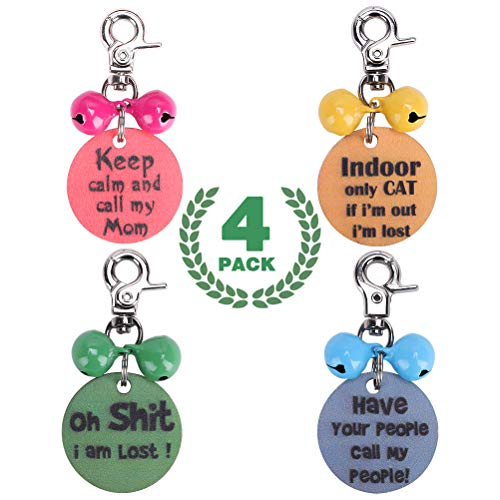 Woody Dog & Cat ID Tags Personalized with Funny Engraved Text, Loud Colorful Metal Bells with Clasp, 4 Pack Pet Collar Harness Tags Cute Pedant for Protection
