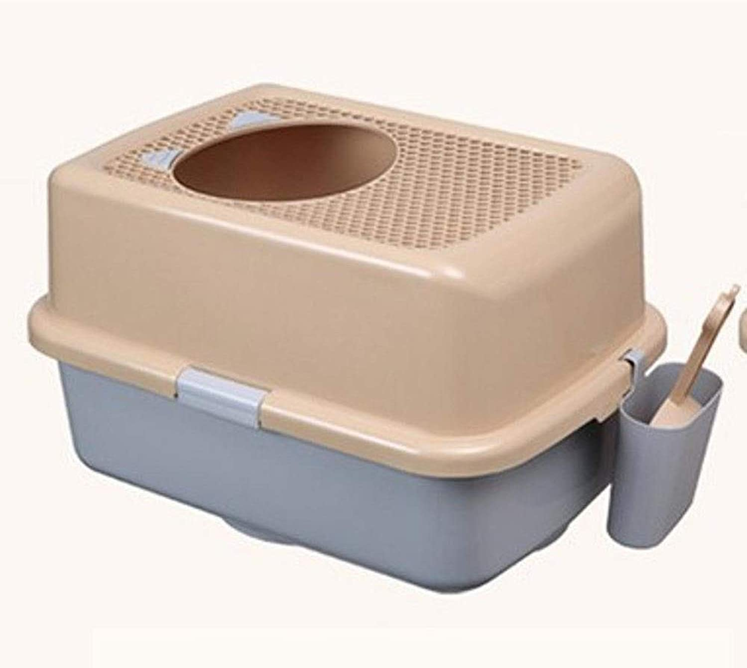 Axiba Pet toilet Large plastic cat sand basin half closed cat Sand basin