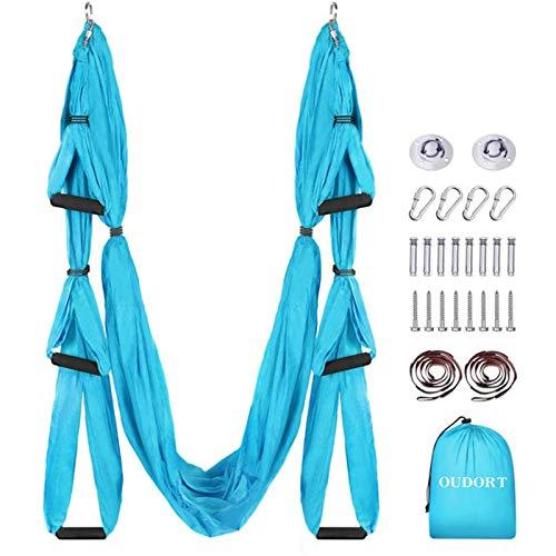 Oudort Columpio de Yoga Aéreo con Estructura, Yoga Trapeze de Nylon Tafetán con Enganche Techo y 1M Correa de Extensión para Yoga Aéreo Pilates en Gimnasio y Hogar, 250 * 150CM - Azul