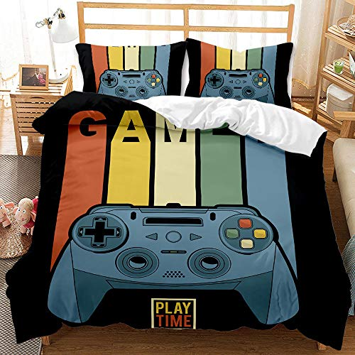 Cttfbys mtsubllk Children's bedding set, game console and gamepad themed duvet cover and pillowcase, single double king size-B_230*260cm(3pcs)