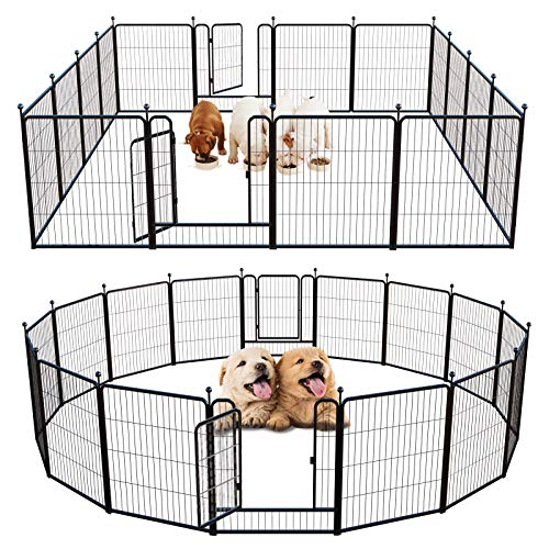 FXW Outdoor Dog Playpen Puppy Pet Playpen for Small/Medium Dogs Exercise Pen with 2 Doors Foldable Indoor Playpen for The Yard Dog Fence 16 Panels 32 Inch Height Heavy-Duty Fence Metal Barrier