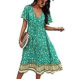 CouieCuies Mujer Bohimian Verano Vestido Deep Cuello en V Tunica Vestido Ruffle Manga Corta Floral Print Vestido Largo Button Down Green-L