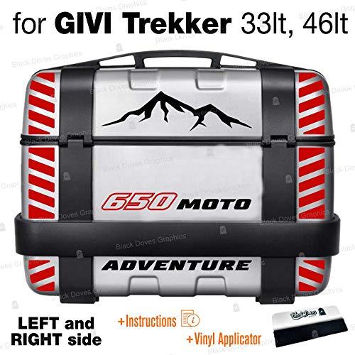 18 pegatinas compatibles con Suzuki V-Strom 650 para Givi Trekker 33 l, 46 l, maletines laterales con tiras reflectantes (LFT and Right Side) (negro/rojo)