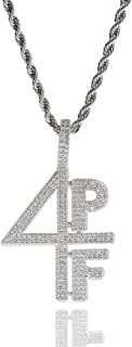 Gioielli Moca Iced out 4PF Numero Lettere Pendente Catena placcata Oro 18 carati Bling CZ Collana con Diamanti Simulati Hi...
