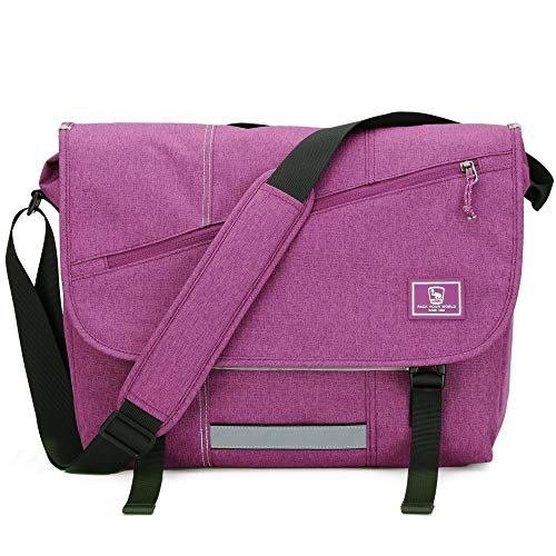 "15.6 INCH LAPTOP MESSENGER BAG: This laptop messenger bag size is 13.8"" L * 5.7"" W * 11.8"" H. Weight: 1.3 lb. Material: water resistant polyester. Capacity: 15 L. It's a great ideal for work, school short traveling, and daily using. LARGE CAPACITY: T..."