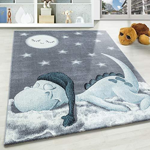 Kinderteppich Motiv niedliche Dinosaurier Sterne und Mond Blau Grau Weiß Farben, Größe:80x150 cm, Farbe:Blau