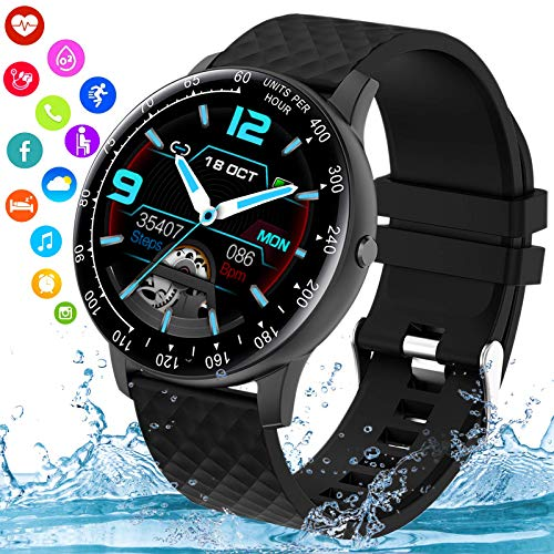 Topkech Smart Watch,Smartwatch for Android Phones,Ip67 Waterproof Fitness Watch with Blood Pressure Heart Rate Monitor Activity Tracker with Pedometer Calorie Compatible for Samsung Ios Women Men