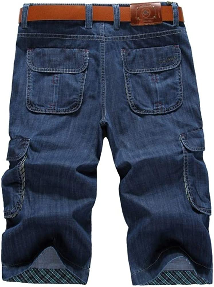 Men's Shorts Summer Straight Loose Thin Tooling Multi-Pocket Cropped Jeans