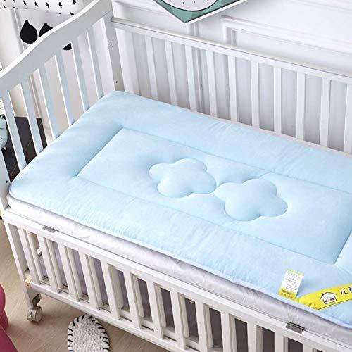 Cyt babymatras, verdikte kribbe matras topper opvouwbare 4cm ademend zachte omkeerbare matras (kleur: blauw, maat: 70X150cm)