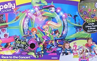 Mattel Polly Pocket Race to The Concert Playset w Sounds, 3 Dolls, 4 Shops & More! (2010) by