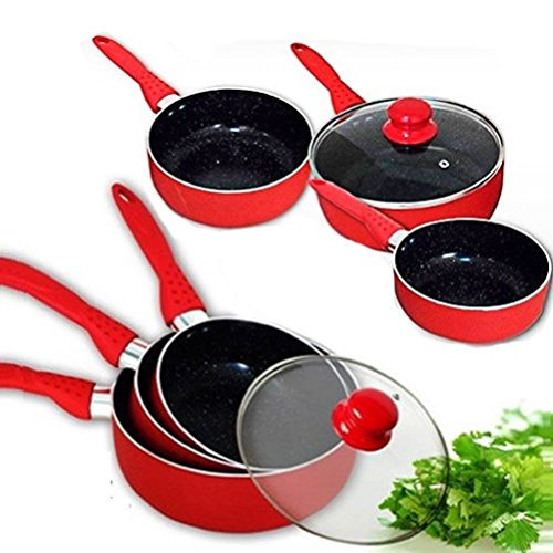 Fun Daisy 4Pc Sauce Pan Cooking Pot Non Stick Marble Coating Surface Fry Frying Set by Fun Daisy Home Series