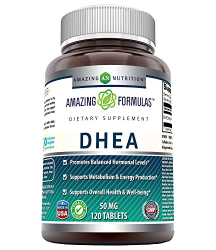 Amazing Formulas DHEA Dietary Supplement - 50 mg Pure - 120 Tablets Per Bottle - Promotes Balanced Hormonal Levels - Supports Metabolism & Energy Production, Balanced Hormonal Levels