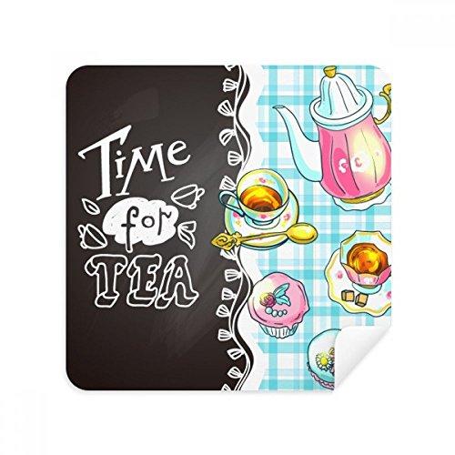 DIYthinker tijd voor thee cupcake theepot Frankrijk bril schoonmaken doek telefoon scherm reiniger Suede stof 2 Stks