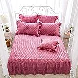 XNSY Baumwollspitze Bettdecke Kissenbezug Bett Rock Winter Dicke einfarbige Bettdecke-Rote Bohnenpaste_180 cm x 220 cm + Kissenbezug * 2