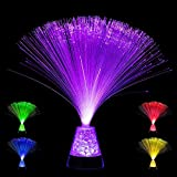 Playlearn Fiber Optic Lamp Color Changing Crystal Base - USB/Battery Powered - 13 Inch -...
