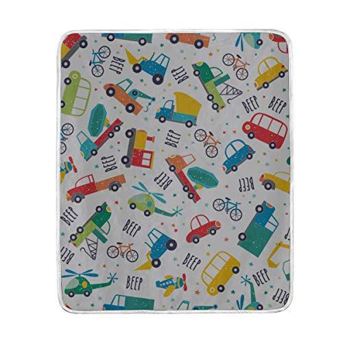 "ZHRX Throw Blanket Cute Transport Pattern Cartoon Travel Soft Blanket Warm Plush Blanket for Sofa Chair Bed Office Gift Best Friend Women Men 50""x60"" Thro"