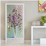 European Style Flower Oil Pastel Painting Door Sticker Creative Self-Adhesive Waterproof Wallpaper For Doors Living Room Bedroom