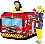 Mokshith Fire Truck Tent for Kids, Toddlers, Boys & Girls – Red Fire Engine Pop Up Pretend Playhouse for Indoors & Outdoors – Quick Set Up, Weather Proof Fabric, Foldable & Spacious