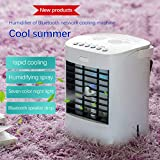 Portable Air Conditioner Fan, Evaporative Air Cooler,Battery Operated Fan with Bluetooth Speaker, Cool Mist Humidifier, 2020 Rechargeable Water-Cooled Air Conditioner for Small Room Desktop Office (A)