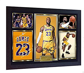 S&E DESING Lebron James Los Angeles Lakers Signed Autograph Lebron Photo Print NBA Framed Size Including Frame- (325 mm x 240 mm) 13 in x 10 in Approx
