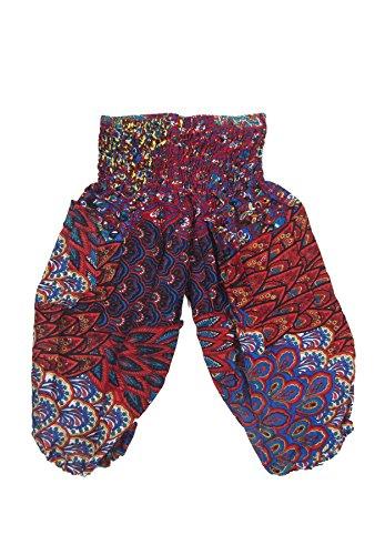 Lofbaz Kinder Hippie Harem Kind Retro Bunte Peacock Boho Hosen Rot & Blau Größe Größe 4/5Y