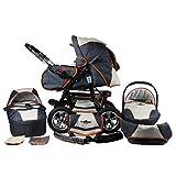 Bergsteiger Milano Kombikinderwagen + Autositz mit Travelsystem (Megaset 10 - teilig); Farbe: Beige & Grey