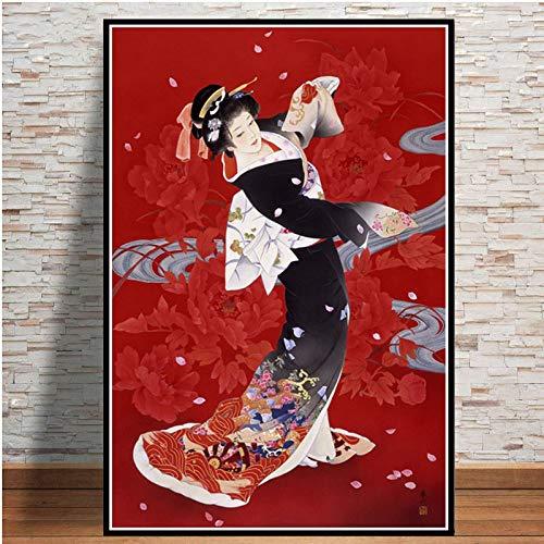 Cuadro En Lienzo,Geisha Mujer Japonesa Fondo Rojo Non-Woven Carteles Mural,Arte Abstracto Ukiyo-E Imagen 3D Pared Vertical Pintar Ilustraciones Dormitorio Decoraciones Home Office,50Cm*70Cm Sin Cerco