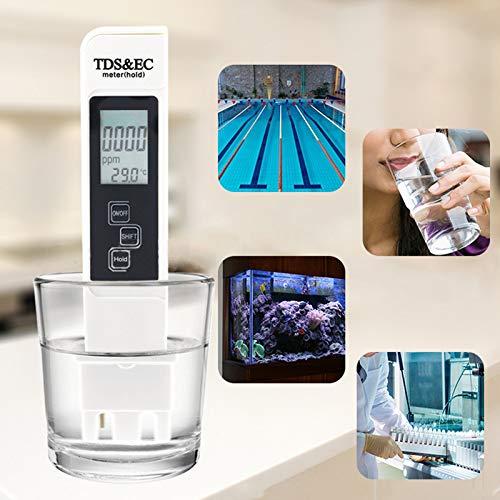 Litthing Wasserqualitätstest Meter TDS EC Temperatur 3 in 1 Wasser Tester mit LCD Display für Hydrokultur, Aquarien, Trinkwasser, Fischteich und Schwimmbad