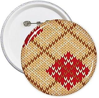 DIYthinker Principal Beige Rouge Brun Clair Blanc Four-Color Cross quadrilatère Knit Nordic Illustration Motif Broches Ron...