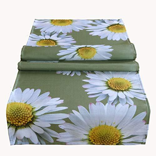 Tischdecke 85x85 cm Eckig Pflegeleicht Oliv Gänseblümchen Mitteldecke Tischdekoration Gartendecke (85 x 85 cm)
