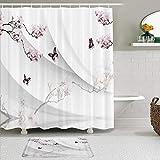 GugeABC Stoff Duschvorhang & Matten Set,Sakura Pflaume Schmetterling Tier dekorativen weißen Hintergr&,Wasserabweisende Badvorhänge mit 12 Haken,rutschfeste Teppiche