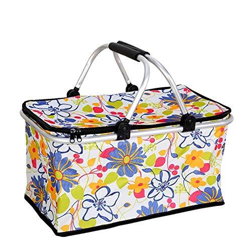 Bolso de comida de picnic plegable de 30L, cesta de picnic, Camping Senderismo Cesta de Cubo de hielo, Cesta de almacenamiento portátil, Caja de picnic al aire libre (Color : F)