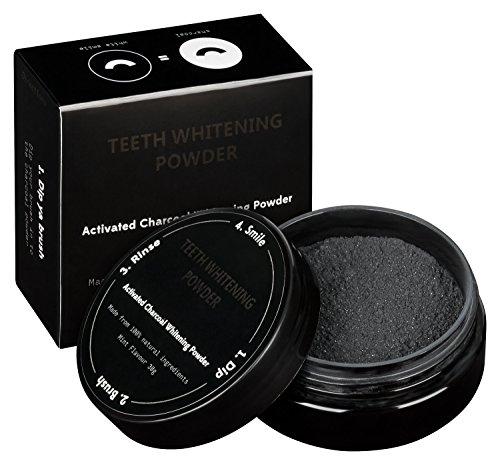 Poudre de blanchiment pour le dents avec du charbon actif pour les dents plus blanches   POUDRE DE BLANCHIMENT DES DENTS AU CHARBON ACTIF
