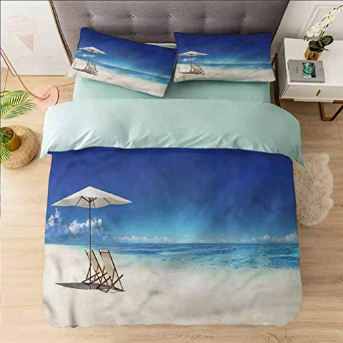 Aishare Store Print Duvet Cover Sets Twin, Coastal,Canopy Under The Sunbeams, Decorative 3 Piece Bedding Set with 2 Pillow Shams