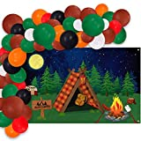 Camping Backdrop Banner And Balloons Garland Set, Indoor Outdoor Camp Out Decoration Kit, Forest Night Campfire Tent Scene Happy Camper Party Photography Background Ideas Supplies (4.7x3.3ft)
