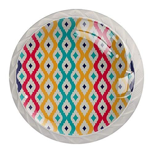 Tiradores de cajón con diseño de rombos de color celosía para cocina, armario, dormitorio, aparador, muebles de baño, puerta (4 unidades)