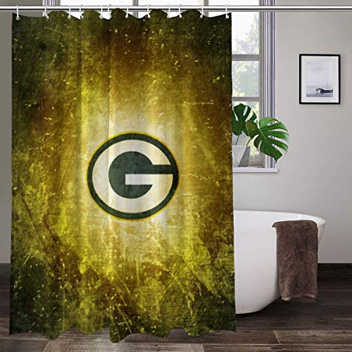 LAYENJOY Green Bay P-a-c-k-ers (52) Football Waterproof Curtain Bathroom Partition Shower Curtain Hooks Suitable for Shower Room Bedroom Bathtub(70x84 in)